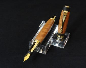 Handmade fountain pen in Brown Mallee Burl by Specialty Turned Designs