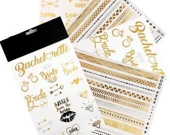 Metallic Bachelorette Party Tattoos   (4 Sheets) Bridal Shower - Team Bride Tattoos, Party Favors, Bracelet Tattoos