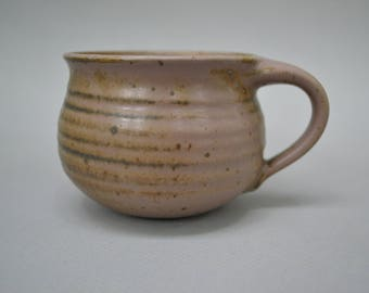 Wheel Thrown Stoneware Reduction Pottery Cup with Mauve Glaze