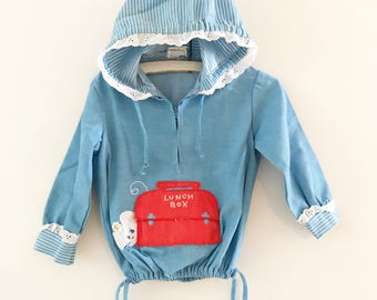 Vintage Nannekins by Nannette Chambray mouse hoodie. Toddler girl hoodie. Size 24 months