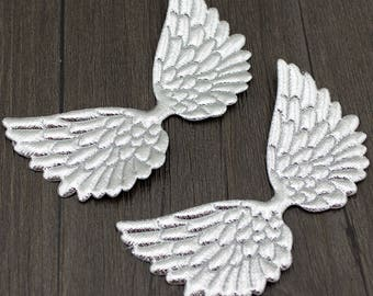 """Iridescent Wing Appliques, Silver color Angel Wing Appliques, 2.95""""X1.77"""" Felt Angel Wings Patch(Pack of 30pcs)"""