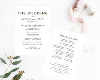 Printable Wedding Program Printable- Garden Botanical Wedding Program - Wedding Reception Program Fan - Letter or A4 Size (Item code: P1028)