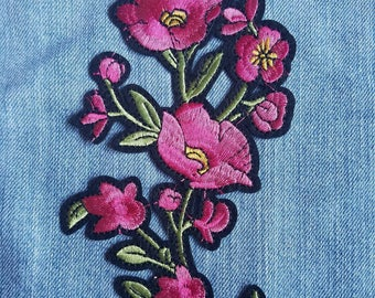 Embroidered Poppy Flower Patch