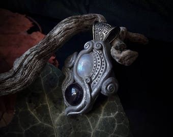Elven Crystal Pendant with Moonstone and Namibian Amethyst /Crystal Pendant/Crystal Jewelry/Handmade/Unique/Pagan/Heathen/Nordic/Necklace