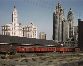 Poster, Many Sizes Available; 1943 Illinois Centrail Rail Yard