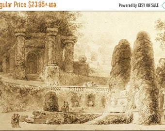 20% Off Sale - Poster, Many Sizes Available; Jean Honore Fragonard Roman Park With Fountain, 1774
