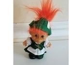 Vintage Russ Troll, German Troll, Orange Hair Troll, Rubber Troll, Troll Doll, Irish Troll, Leprechaun, St Patricks Day, Vintage Toy, 1980s