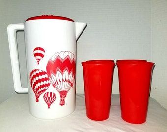 Vintage Plastic Pitcher Set, Air Balloon Pitcher & Cups,Air Balloons,2 Quart Pitcher,Juice Pitcher,Red Pitcher,Retro Kitchen,RV,Glamping