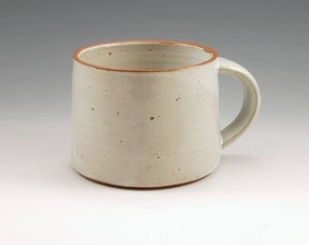 White Ceramic 14 oz Large Mug, Handmade Stoneware Coffee Tea Mug, White Glazed Rustic Mug, Unglazed Rim,  Wheel Thrown Wide Mug