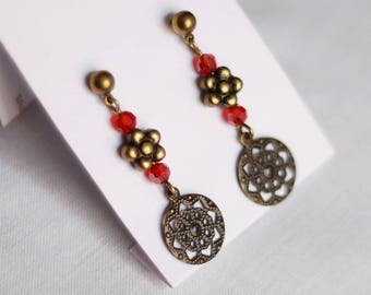 Small bronze rosette - earrings for women