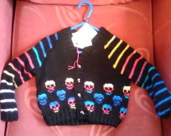 Hand knitted Skull themed cardigan to fit a baby boy aged 1-2years old