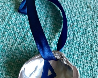 Thurisaz Runic Ornament Silver Clam Shell with Navy Blue Satin Ribbon Elder Futhark Symbol for Giant