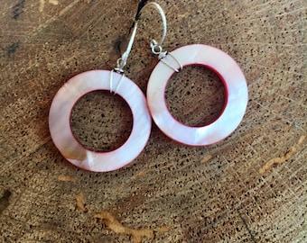 Pink Mother of Pearl Large Hoop Earrings with sterling silver // gemstone earrings / spring jewelry / pink earrings / pink gemstones shells