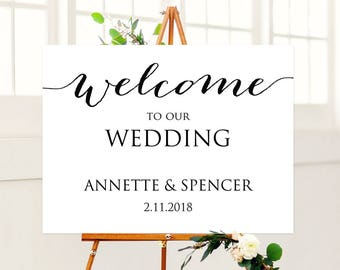 18x24 Wedding Welcome Sign Template Editable Instant Download DIY