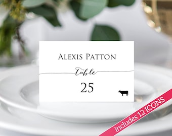 Place Card Template, Place Cards with Meal Choice, Place Cards Wedding, Place Cards Printable, Place Cards With Food Icon, Seating Cards