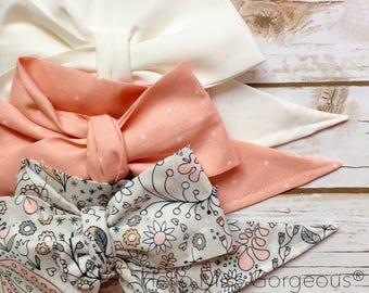 Gorgeous Wrap Trio (3 Gorgeous Wraps)- Blanc, Blush Sugar & Light Peach Floral Gorgeous Wraps; headwraps; fabric head wraps; headbands