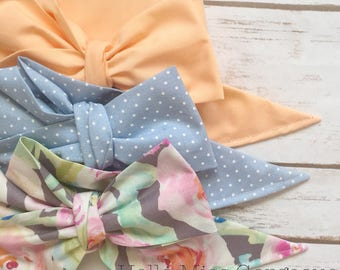 Gorgeous Wrap Trio (3 Gorgeous Wraps)- Peach, Chambray Sugar & Fog Floral Gorgeous Wraps; headwraps; fabric head wraps; bows