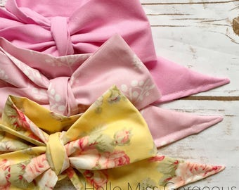 Gorgeous Wrap Trio (3 Gorgeous Wraps)- Ballet Pink, Rustic Bloom & Vintage Yellow Floral Gorgeous Wraps; headwraps; fabric head wraps; bows