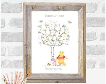 Pooh bear and tiglet, Fingerprint tree, Baby shower,Christening, guest book, wall decor,baby Keepsake, nursery decor Birthday