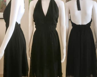 Classic 1970s black halter fit and flare chiffon dress size 8