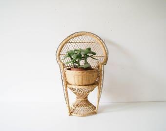 Peacock Armchair Small, doll chair, Doll armchair, plant stool, flower stool, peacock chair, rattan willow Stool