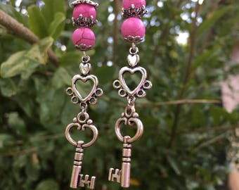 Silver Key Earrings. Plastic Key Earrings, Heart Earrings, Pretty Earrings, Girly Earrings, Valentine's Day Earrings, Valentine's Day Gifts