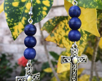 Cross Earrings, Blue Gem Stone Beads, Dangle Earrings, Mother's Day Gift