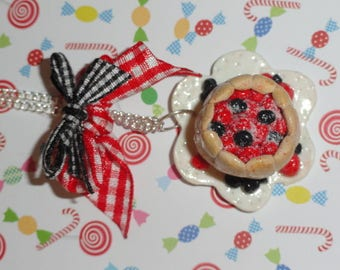 """""""CHARLOTTE in the Red FRUITS"""" polymer clay necklace"""