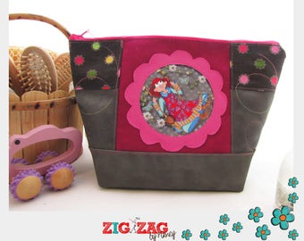 """Maxi-Trousse style basket (toilet, coats, clothes, pharmacy small) """"Tina in swing"""" grey/pink (x H20 x L28 base 18 x 12)"""