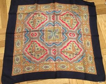 "Vintage Liberty of London Navy Orange Pattern Silk Square Scarf 23"""