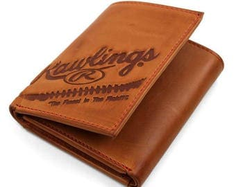 Rawlings Vintage Leather Tri-Fold Wallet Leather Baseball Glove Wallet.  Special  Pricing Free Shipping