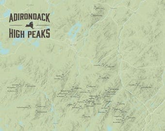 Adirondack High Peaks Map 18x24 Poster
