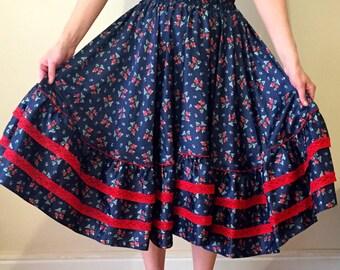 Handmade vintage style swing skirt UK 8-12