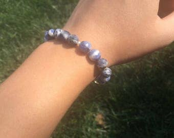 Faceted Sodalite and Mini Pearl Beaded Bracelet
