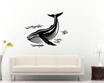 Big Fish Wale Sea Ocean Water Creature Nautical Nature Wall Sticker Decal Vinyl Mural Decor Art L2283