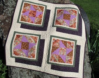 Fall Wall Quilt, Modern Wall Hanging Quilt, Square 3D Quilted Table Runner, Purple Star Window Quilt, Lap Quilt, Thanksgiving Table Topper