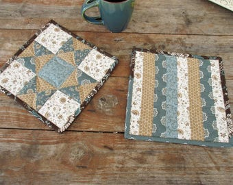 Teal Brown Hot Mats, Quilted Potholders, Set of Two Patchwork Trivets, Large Hot Pads, Thick Baking Mats, Kitchen Gift for Home Cook