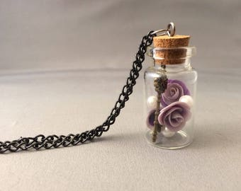 Free Shipping, purple rose corked dome charm necklace, shimmering purple roses, key, pearl, roses, beauty and the beast rose, charm necklace