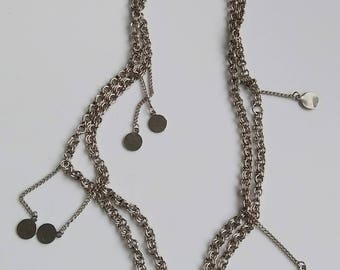 disco sequin charm chainlink necklace in silver