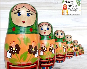 Christmas Nesting Doll, Unique Matryoshka Dolls, Hanukkah Nesting Doll Gift, Wooden Kitschy Figurines. Green Babushkas, Yellow Floral Dress