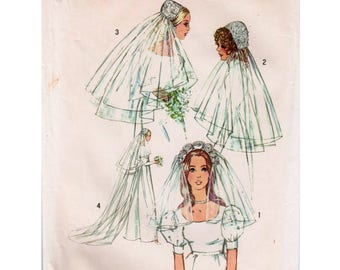 Wedding Veil Pattern Bridal Veil Pattern Juliet Cap Pattern SIMPLICITY 9826 Bridal Headpiece Pattern Short Veil Pattern Floral Headband