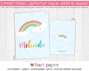 Rainbow Clouds 2 Pocket Folder Gift Name Back to School Supplies Teacher Office Birthday Girl Kids Custom Personalized Custom