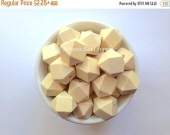 SALE 20mm Natural Wood Hexagon Teething Beads,  Wood Hexagon Beads, Natural Unfinished Wood Teething Beads,  Natural Wooden Beads