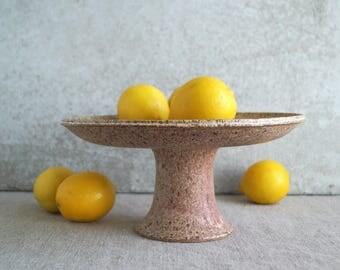 Handmade Ceramic Pedestal, Wheel Thrown Cake Stand, Pedestal Fruit Dish, Speckled White Glaze, One-of-a-Kind Housewarming Gift for Her