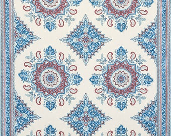 SCHUMACHER PERSIAN TURKISH Medallions W Borders Linen Fabric 10 yards Red Blue