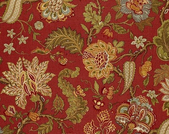 SCHUMACHER JACOBEAN TREE of Life Linen Fabric 10 yards Multi Cinnabar