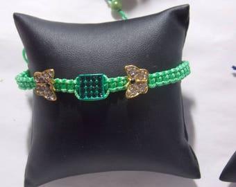 Shamballa 2 papillons strass vert