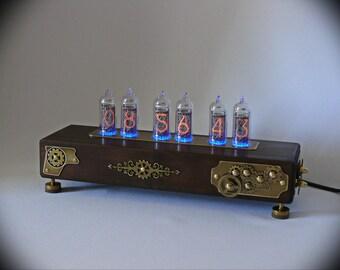 """Nixie tube clock """"Steampunk""""   oak, brass, color  oak, IN-14"""