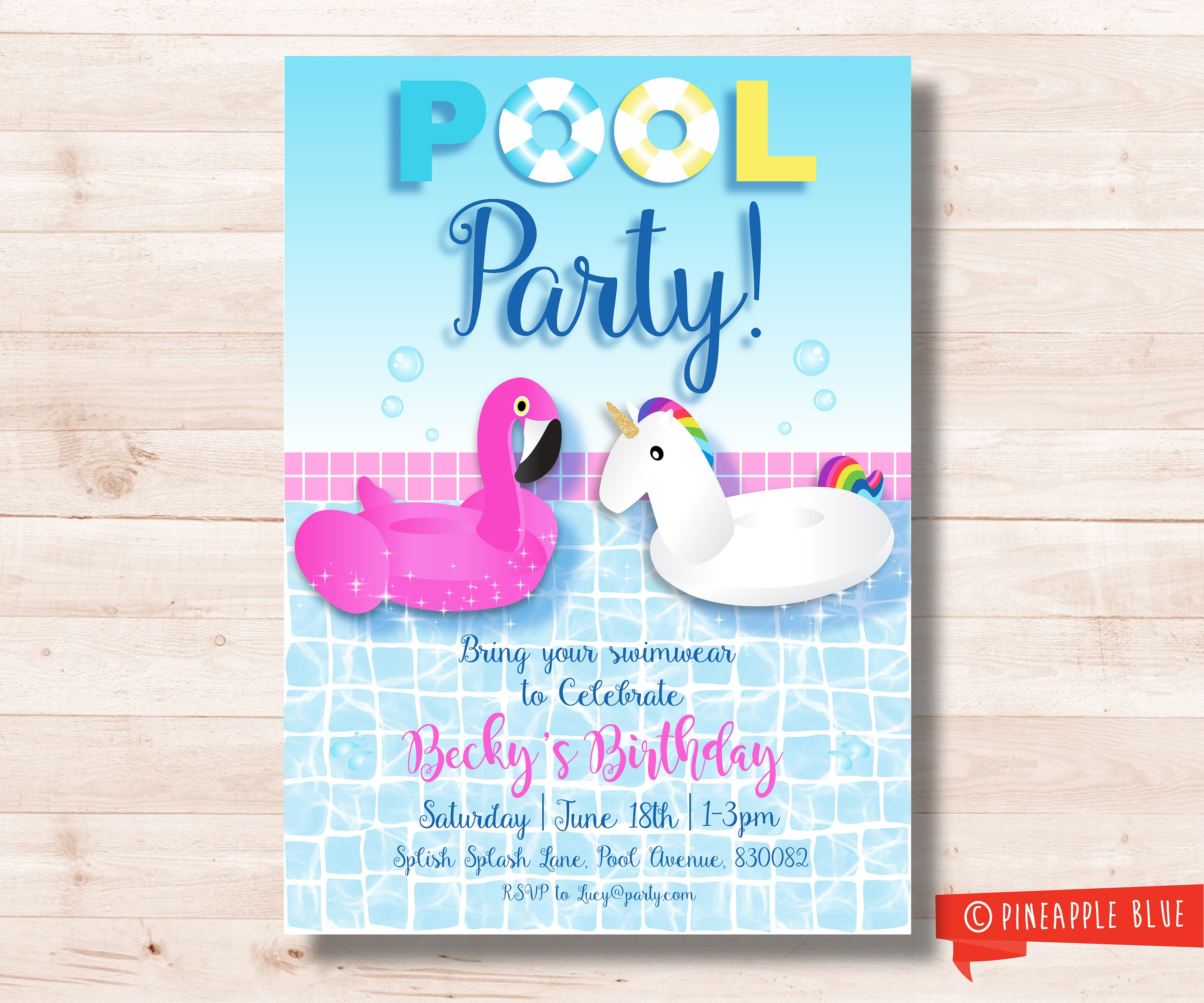 Unicorn pool party invitation Swim party invitation Pool
