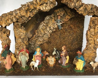 Vintage Wood Nativity Stable Creche Manger Set Christmas Religious Decor Made in Italy